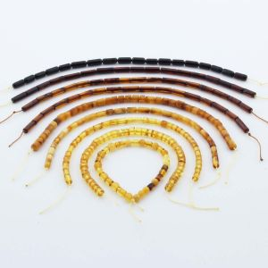 Natural Baltic Amber Loose Beads Strings Set of 9pcs. 30gr. ST1224