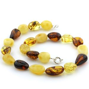 Natural Baltic Amber Necklace with 925 Sterling Silver 57gr. 19.7 inches FBR5