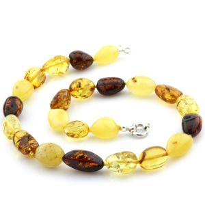 Natural Baltic Amber Necklace Olive Beads with 925 Sterling Silver 41gr FBR6