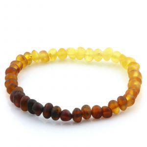 Adult Semi Polished Baltic Amber Bracelet. Baroque Rainbow I Matte 5x4 mm