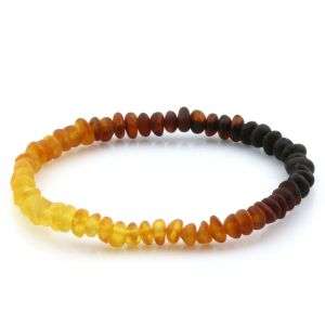 Adult Semi Polished Baltic Amber Bracelet. Round Flat Rainbow II Matte 5x3 mm