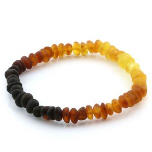 Adult Semi Polished Baltic Amber Bracelet. Round Flat Rainbow I Matte 5x3 mm
