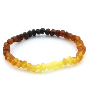 Adult Semi Polished Baltic Amber Bracelet. Baroque Rainbow II Matte 5x4 mm