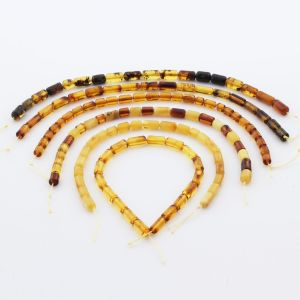 Natural Baltic Amber Loose Beads Strings Set of 6pcs. 40gr. ST1235