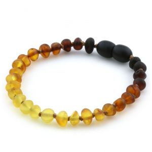 Semi Polished Baltic Amber Teething Bracelet. Baroque Rainbow V2 Matte 5x4 mm