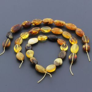 Natural Baltic Amber Loose Beads Strings Set of 3pcs. 29gr. ST612