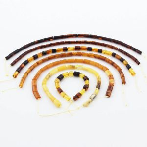 Natural Baltic Amber Loose Beads Strings Set of 7pcs. 24gr. ST1249