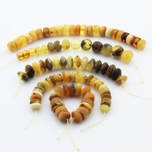 Natural Baltic Amber Loose Beads Strings Set of 5pcs. 45.2gr. ST1257