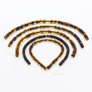 Natural Baltic Amber Loose Beads Strings Set of 5pcs. 23.3gr. ST1275