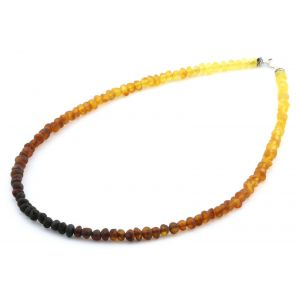 ADULT BALTIC AMBER & 925 STERLING SILVER CLASP NECKLACE 45CM. BA RAINBOW I MATTE S.