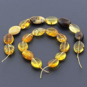 Natural Baltic Amber Loose Beads Strings Set of 2pcs. 26gr. ST653