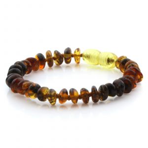 Natural Baltic Amber Teething Bracelet. Round Flat LE53