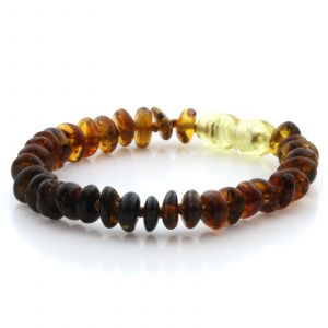 Natural Baltic Amber Teething Bracelet. Round Flat LE54