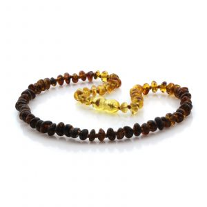 Natural Baltic Amber Teething Necklace. Round Flat LE93
