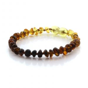 Natural Baltic Amber Teething Bracelet. Round Flat LE93