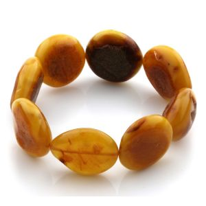 Adult Baltic Amber Bracelet Olive Beads 23mm 26gr. JNR75