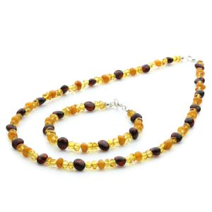 Adult Baltic Amber & 925 Sterling Silver Necklace Bracelet set 18/45cm. LE05