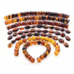 Natural Baltic Amber Loose Beads Strings Set of 8pcs. 128.6gr. ST1412
