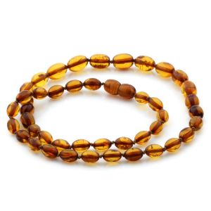 Natural Baltic Amber Necklace Olive Beads up to 10mm 46cm 9.38gr NPR21