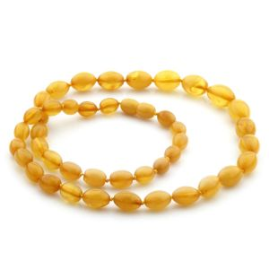 NATURAL BALTIC AMBER NECKLACE OLIVE BEADS UP TO 14MM. 53CM. 18GR NPR09
