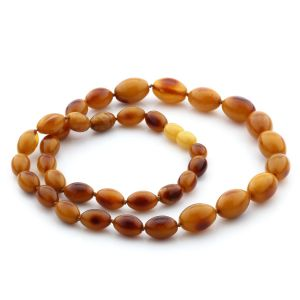 NATURAL BALTIC AMBER NECKLACE OLIVE BEADS UP TO 15MM. 51CM. 20GR NPR11