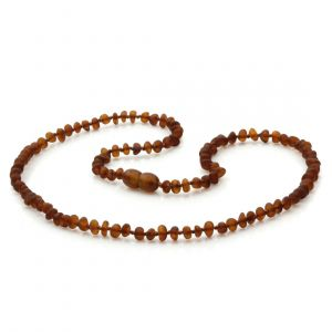 Adult Semi Polished Baltic Amber Necklace. Baroque Cognac Matte 4x3 mm