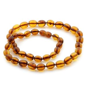 Natural Baltic Amber Necklace Olive Beads up to 11mm 49cm 16gr. NPR13