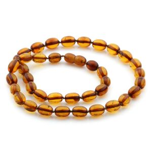 Natural Baltic Amber Necklace Olive Beads up to 11mm 46cm 14gr. NPR15