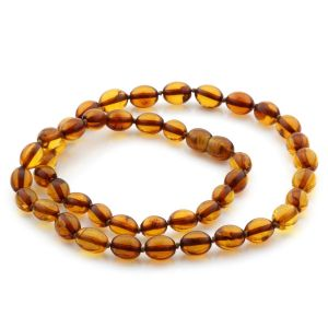 Natural Baltic Amber Necklace Olive Beads up to 9mm 46cm 11gr. NPR17