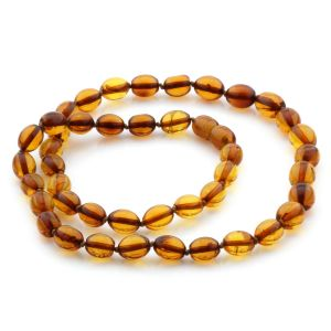 Natural Baltic Amber Necklace Olive Beads up to 9mm 45cm 11gr. NPR19