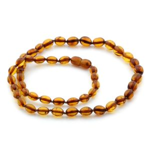 Natural Baltic Amber Necklace Olive Beads up to 9mm 49cm 10gr. NPR20