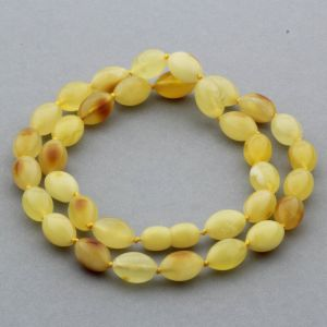 Natural Baltic Amber Necklace Olive Beads up to 10mm 47cm 16gr. NPR04