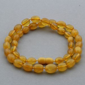 NATURAL BALTIC AMBER NECKLACE OLIVE BEADS UP TO 12MM. 47CM. 14GR NPR08