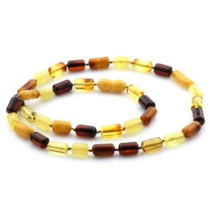 Natural Baltic Amber Necklace Cylinder Beads 14mm. 49cm. 13gr. NPR23