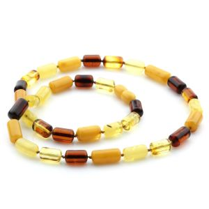 Natural Baltic Amber Necklace Cylinder Beads 13mm. 49cm. 15gr. NPR24