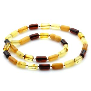 Natural Baltic Amber Necklace Cylinder Beads 12mm. 48cm. 13gr. NPR25