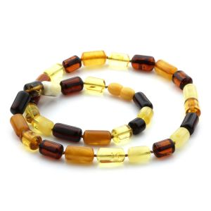 Natural Baltic Amber Necklace Cylinder Beads. 50cm. 22gr. NPR29