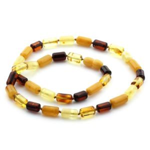 Natural Baltic Amber Necklace Cylinder Beads 11mm 49cm 13gr. NPR30