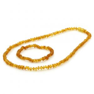 Adult Semi Polished Baltic Amber Necklace & Bracelet Set. Round Flat Light Cognac 5x3 mm