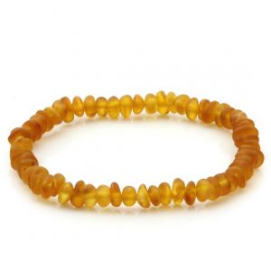 Adult Semi Polished Baltic Amber Bracelet. Round Flat Light Cognac Matte 5x3 mm