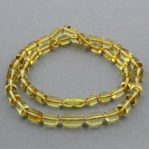 Natural Baltic Amber Necklace Cylinder Beads up to 17mm 55cm 21gr. NPR35