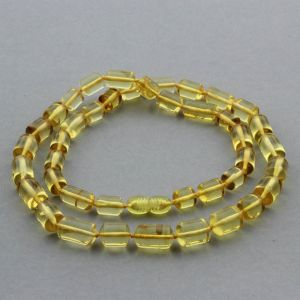 NATURAL BALTIC AMBER NECKLACE CYLINDER BEADS UP TO 15MM. 54CM. 21GR NPR32