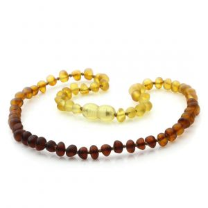 Semi Polished Baltic Amber Teething Necklace. Baroque Rainbow V1 Matte 5x4 mm