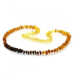 Adult Baltic Amber Necklace. Round Flat Rainbow I 5x2 mm