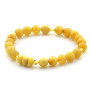 Natural Baltic Amber Bracelet Round Beads 8mm 5.88gr SPR297