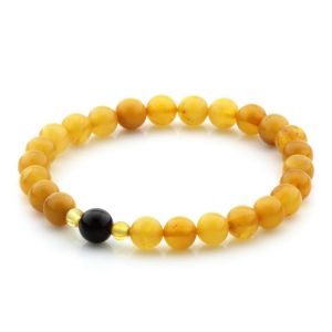 Natural Baltic Amber Bracelet Round Beads 7mm 4.42gr SPR296