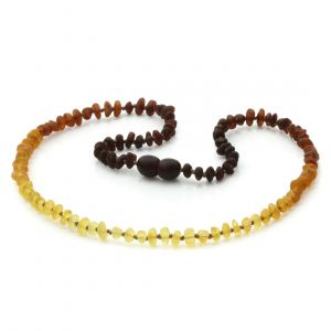 Adult Raw Baltic Amber Necklace. Baroque Rainbow II Rough 4x3 mm