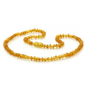 Adult Semi Polished Baltic Amber Necklace. Round Flat Light Cognac Matte 5x3 mm