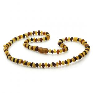 Adult Raw Baltic Amber Necklace. Round Flat Multicolor Rough 5x3 mm