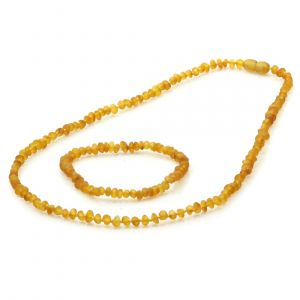 Adult Semi Polished Baltic Amber Necklace & Bracelet Set. Baroque Light Cognac 4x3 mm